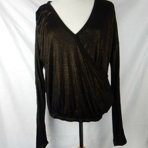 One Clothing Brand Faux Wrap Long Sleeve Shine Top